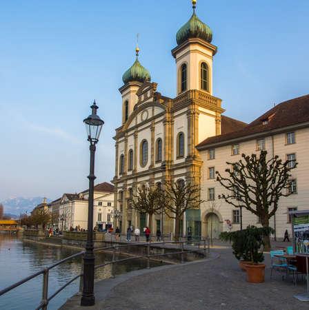 jesuit: Jesuit Church by the River Reuss in Lucerne