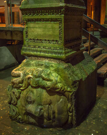 cistern: Medusa head statue in The Basilica Cistern, Istanbul, Turkey