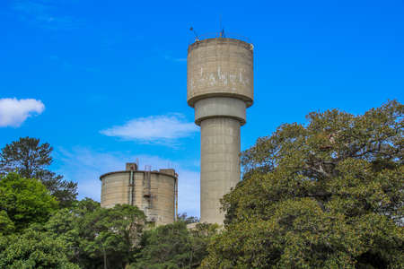 shipbuilding: Old disused water tower on Cockatoo Island in Sydney