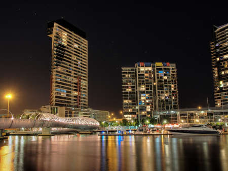 nightshot: Buildings around the Dockland area of Melbourne illuminated at night