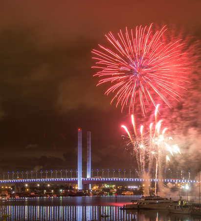 Fireworks on Victoria Harbour with Bolte Bridge, Melbourne Stock Photo