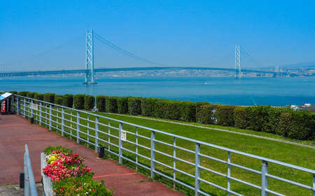 Akashi-kaikyo ohashi bridge viewed from Awaji Island Stock Photo