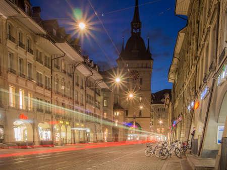Long exposure of clock tower in Bern, Switzerland. Éditoriale