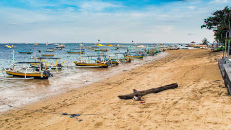 Traditional fishing boat on the beach in Sanur Bali Indonesia Editorial