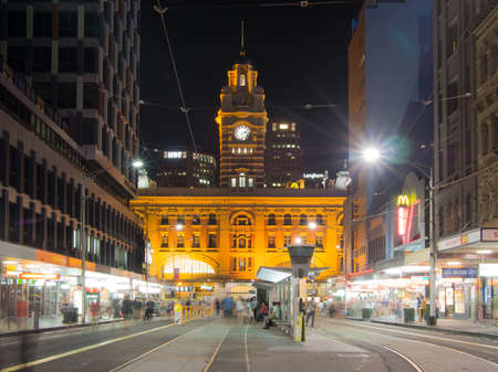 AUSTRALIA, MELBOURNE - February 22, 2015: Melbournes Iconic Flinders Street Station clock tower  at night