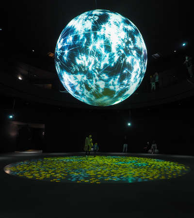 JAPAN, OSAKA - APRIL 13, 2017: Takahiro Matsuos WONDER MOMENTS a spherical exhibition at NIFREL, a live museum in Expo City, Osaka.