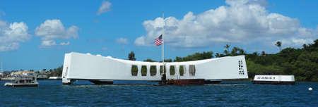 USA, HAWAII - AUGUST 31, 2018: Panorama of the USS Arizona Memorial with the flag flying half mast at Pearl Harbor Hawaii.