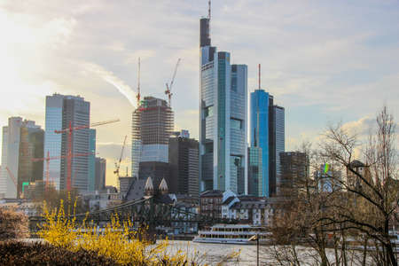 GERMANY, FRANKFURT - APRIL 14, 2013: Commerzbank Tower in the central business district of Frankfurt 에디토리얼