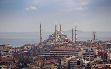 Turkey, Istanbul - March 17, 2015: Sultan Ahmed Mosque or Blue Mosque, is one of the most popular city landmarks of Istanbul