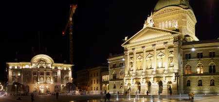 Switzerland, Bern - March 27, 2015: Night view of Parliament Square outside the Swiss House of Parliament in Bern, Switzerland.