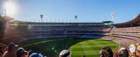 Australia, Melbourne - September 13, 2015: Panoramic view inside the Melbourne Cricket Ground with a crowd of 90,000 during an elimination final 에디토리얼