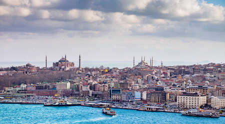 Turkey, Istanbul - March 17, 2015: The Blue Mosque and Hagia Sophia rising above the Old Town, also known as the Historical Peninsula, is the oldest part of Istanbul 에디토리얼