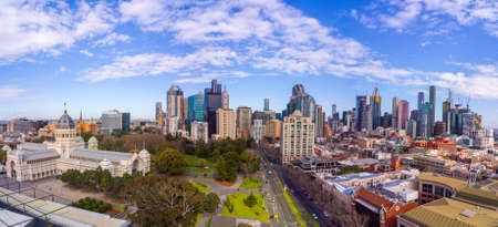 Australia, Melbourne - July 27, 2018: Panoramic aerial view of the Royal Exhibition building and Melbourne city skyline, Australia 에디토리얼