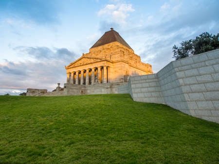 Australia, Melbourne - July 27, 2015: Afternoon sun setting on Melbournes shrine of Remembrance