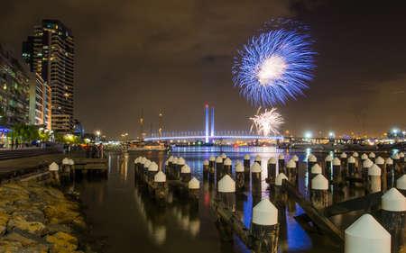 Australia, Melbourne - July 17, 2016: Fireworks display on Victoria Harbour Docklands Melbourne.