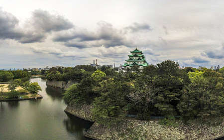 Japan, Nagoya - May 20, 2017: Aerial view of Nagoya Castle with dramatic cloudscape above 에디토리얼