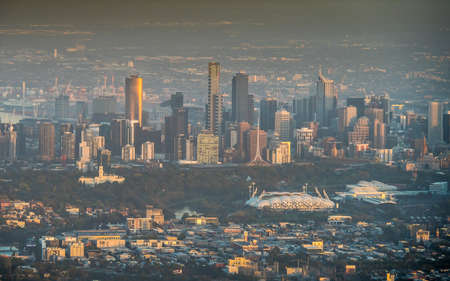 Australia, Melbourne - April 4, 2014: Aerial view of sunrise over the central business district of Melbourne