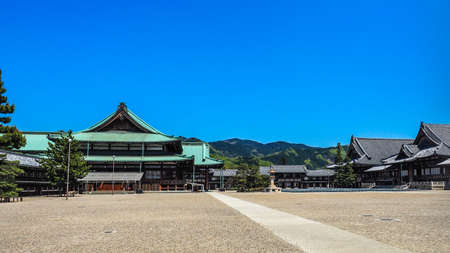 Japan, Nara - April 23, 2017: The Foundress Sanctuary (left) and the Worship Hall (right) of Tenrikyo Church Headquarters. Tenrikyo is a Japanese religious movement based in the city of Tenri 에디토리얼
