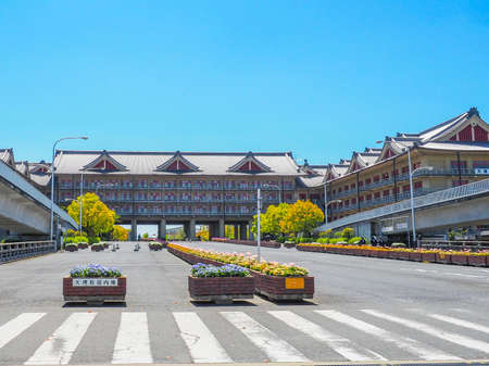 Japan, Nara - April 23, 2017: Tenri University is a Japanese private university in Tenri, Nara Prefecture. It was founded in 1925 as Japan's first private foreign language school
