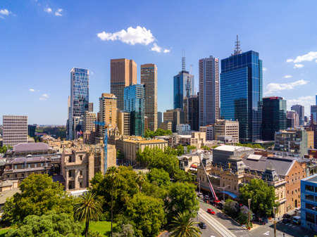 Australia, Melbourne - December 6, 2014: Melbourne CBD and city skyline viewed from the eastern side of the city