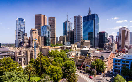 Australia, Melbourne - July 27, 2018: Aerial view of Melbourne CBD from Spring Street. Spring Street is a major street in the central business district of Melbourne, Australia.