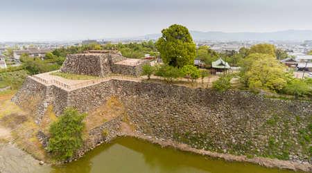 Japan, Nara - April 23, 2019: Remaining ruins of the main keep of Yamato Koriyama castle, Nara Prefecture, Japan