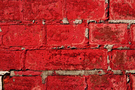 wall background with red bricks close up for design