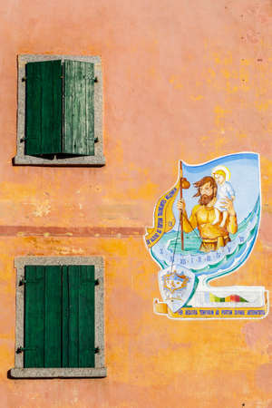 Tiarno di Sotto, Italy - 11 29 2020 Painted house, on the road to the Gorg d'Abiss waterfall.