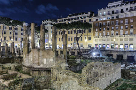 historica: Night View of Largo di Torre Argentina, Rome, Italy