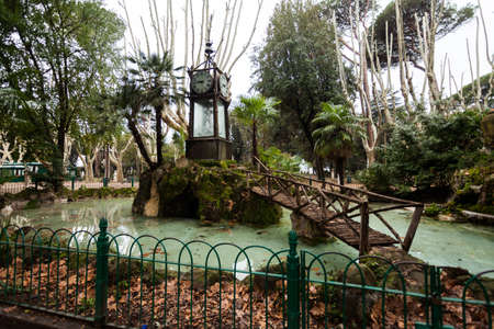 A view of the Water Clock of Villa Borghese in Rome