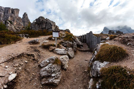 Trenches of World War in Dolomites, Cinque Torri. Landscapes and ruins dramatic memories of Wars in Dolomites