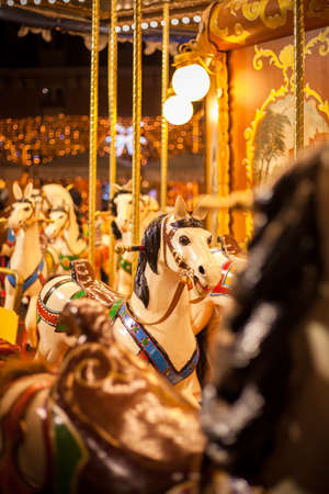 Ancient German Horse Carousel built in 1896 in Navona Square, Rome, Italy