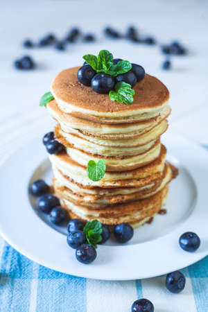 Delicious homemade pancakes with berries