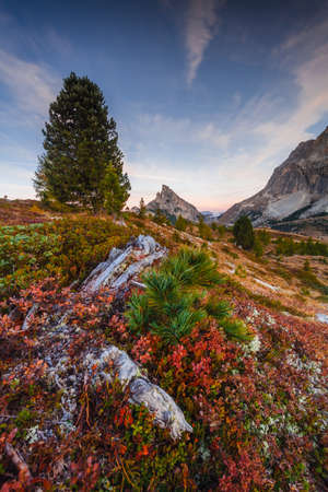 Sass de Stria Falzarego Pass scenery, Dolomites, Veneto, Italy Stock Photo