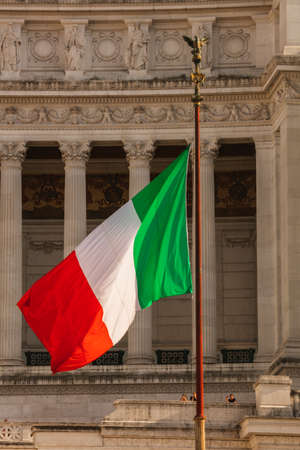 The Italian Flag in front of the Altar of the Fatherland, Rome, Italy Stock Photo