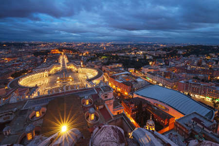 High angle view of Saint Peter's Square in Vatican City, Rome, Italy