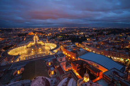 High angle view of Saint Peters Square in Vatican City, Rome, Italy