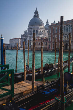 View of gondolas in Venice, Italy