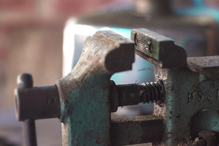 old rusty vise