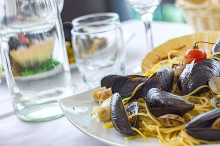 spaghetti and mussels Stock fotó