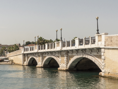 an old stone bridge in taranto, in the south of italy Stock Photo