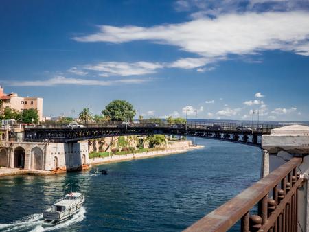 the taranto swing bridge on the taranto canalboat that separates the big sea from the little sea Stock Photo