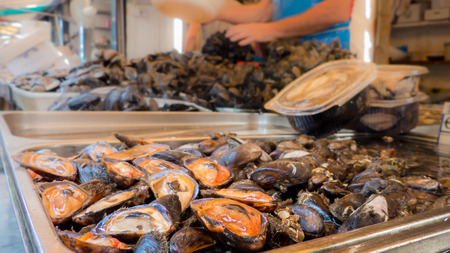 fresh mussels at the fish shop