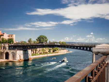 the taranto swing bridge on the taranto canalboat that separates the big sea from the little sea Reklamní fotografie