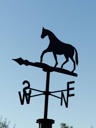 an horse weathervane on a blue sky background