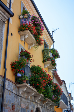 Italian flowered balconies in Calabria, in the south of Italy