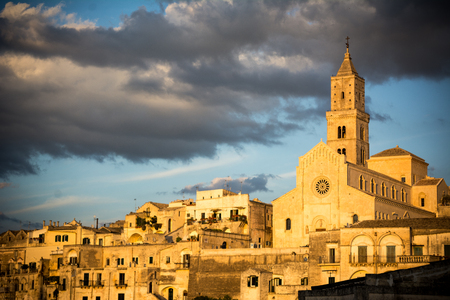 rupestrian: View of the matera town landscape at sunset