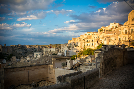 view of the matera town landscape at sunset