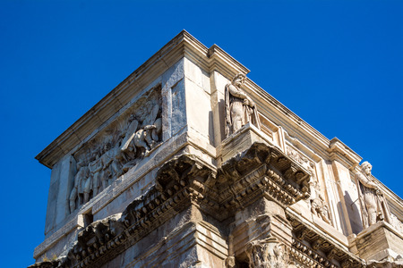 the arch of constantine in rome on blue sky background Stock Photo