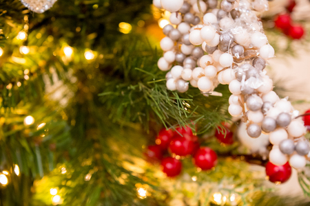 close up of christmas tree white and red decoration on golden lights blur background stock photo - Christmas Tree With White Lights And Red Decorations